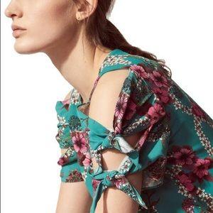 Sandro Blouse Viva Top Floral Tie Sleeves